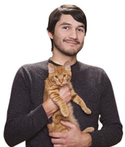 Man mit Katze